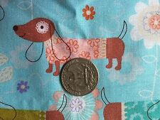 Doxie & Flowers Doxie Dachshund Puppy Dog Dogs Quilt Fabric Fat Quarter FQ FQs