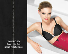 WOLFORD Boudoir PUSH-UP BRA • 70 B • black/light rose  ..... Satin Push-up BH