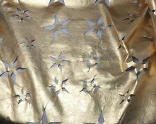 Perforated Star Floral Metallic GOLD Lambskin Leather Hide Piece #22