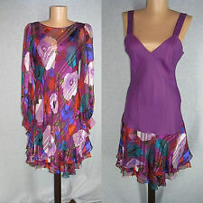 Vintage Tally Dress sz S Silk 2pc Ruffle cocktail  Hippie Chic Boho Sun Floral
