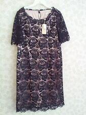 Vestido De Boda Jacques Vert superposición De Encaje Negro/madre de la novia? UK 12 £ 185