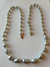 VINTAGE MIRIAM HASKELL SIGNED OPERA LENGTH LIGHT GRAY PEARL NECKLACE