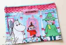 Moomin Double Zip A4 File Folder Zipper Document Organizer Blue Pen bag