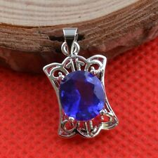 Jewelry Fashion 925 silver Sapphire Pendant  gift for women N-417