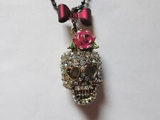 BETSEY JOHNSON signed RHINESTONE SKULL pink bow pendant necklace EUC