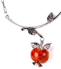 Baltic Amber In Sterling Silver Unique One Of A Kind Apple Necklace