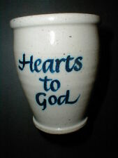 Northwood Pottery New Hampshire HEARTS HANDS TO GOD Small Crock/Tumbler