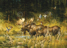Larry Fanning October Rendezvous Animal Moose Duck Print Poster 36x28