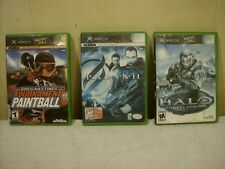 LOT OF 3 XBOX GAMES TOURNAMENT PAINTBALL, PARIAH & HALO COMBAT EVOLVED / USED
