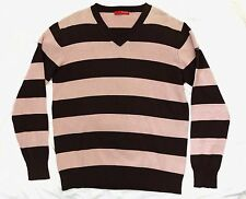 SONNETI: V-Neck Cotton Sweater_Sz.L_Dk.Brown & Pinkish Beige Horizontal Stripes