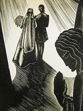 Lynd Ward 1930 MARRIAGE in a CHURCH PRAYER WOMAN PRAYING Art Deco Print Matted
