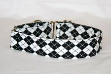 "1.5"" Small (whippet) Martingale Dog Collar Black and White Argyle"
