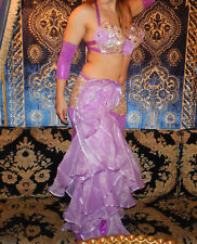 Lavender and Silver Flamenco Style Floral Flare Egyptian Belly Dance Costume