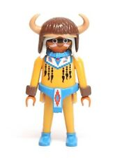 "Playmobil Figure Western Indian Old Medicine Man ""Fur"" Horned Helmet Braids 3877"
