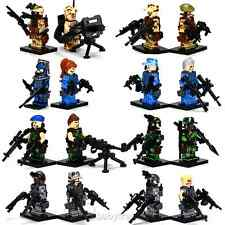 Lot of 16 Minifigures Lot Military Army Figures With Weapons Building Toys Set