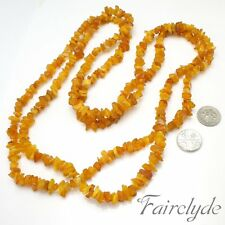 Very Long Natural Raw Baltic Egg Yolk Amber Bead Necklace 39g Gift Boxed OFFERS