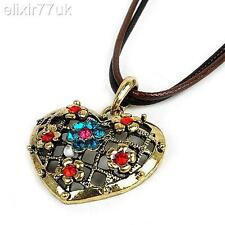 RETRO HEART PENDANT & LEATHER CORD NECKLACE COLOUR STONES BOHO VINTAGE STYLE UK