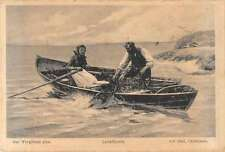 Christiania Norway Fishing Scene Antique Postcard J45713