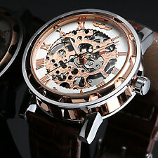 New Mechanical Brown Men's Watch Wrist Leather Fashion Skeleton Rose Gold+Box