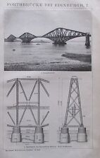 FORTHBRÜCKE BEI EDINBURGH I-II 1893 original 2 alte Drucke antik prints Litho