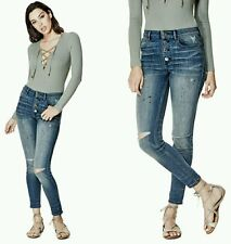 �� GUESS 1981 BUTTON-FRONT HIGH WAISTED SKINNY JEANS ��