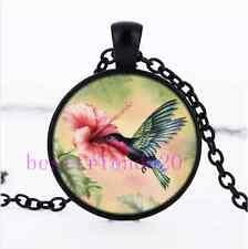 Hummingbird With Flower Photo Cabochon Glass Black Chain Pendant Necklace