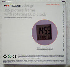 Modern Design 3x5 Picture Frame with Rotating Lcd Clock Nib