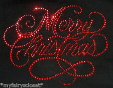 "9"" x 7"" red Merry Christmas iron on rhinestone transfer applique bling patch"