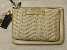 GUESS Women's Gold Cleopatra Quilted Top Zip Double Pouch Wristlet Set SALE NWT