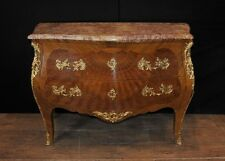 French Antique Parquetry Bombe Commode Chest of Drawers Empire Cabinet