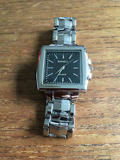 New Raynell Unisex Silver Finish Square Black Faced Watch  W73