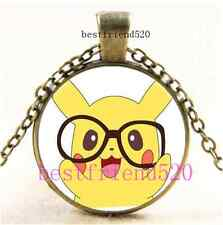 Vintage Pokemon Hipster Pikachu Cabochon Glass Bronze Pendant Necklace