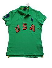 Ralph Lauren Women's Big Pony USA Polo in Size Medium in Green w/Blue horse