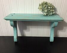Wood Shelf Wall Antique Upcycled Turquoise Green Blue Shabby Chic Distressed