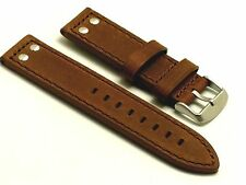 22mm Brown Quality Double Rivet Style Crazy horse Leather Cut edge Watch Strap