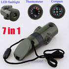 New 7 in 1 Camping Survival Whistle Compass Thermometer Flashlight Magnifier