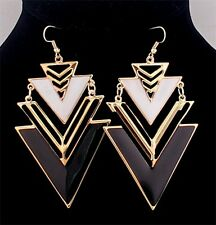 Hot New Fashion Women White & Black Enamel Triangle Dangle Earrings Hook Jewelry