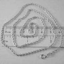 18K WHITE GOLD CHAIN NECKLACE BRAID ROPE MESH 23.62 INCHES, 2.5 MM MADE IN ITALY
