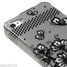 Apple iPhone 4 4S Snap-On Hard Case Cover Accessory Black Lace Flowers 2D