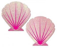 Pasties Pink Mermaid Seashell Glitter Reusable Dancer Breast Nipple Pastease