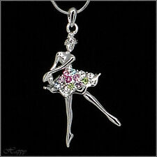 Vallerina Ballerina Dance Ballet Necklace Pendant Jewelry Multi-color 18k GP 16""