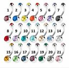 50pcs Double Gems navel belly ring Button Barbells Body Piercing  Mix Colors