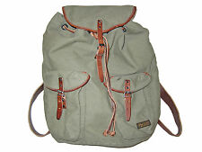 Polo Ralph Lauren GI Army Green Canvas Leather RL Co Laptop Backpack Book Bag