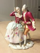 Vintage ROYAL DUX Bohemia Victorian Dancing Couple Figurine Signed Elly Strobach