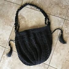 cappelli purses straw drawstring bag with huge beads on strap Black