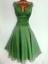 MONSOON ✩ STUNNING GREEN CAMILLE / ORIANE  SILK MIX COCKTAIL DRESS ✩  UK SIZE 10