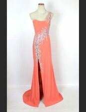 Jovani $400 NWT One Shoulder Thigh-High Slit Lt Orange Prom Formal Long Size 6