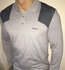 Hugo Boss Long Sleeve Polo Top tshirt BNWT Grey size Medium *Green Label*