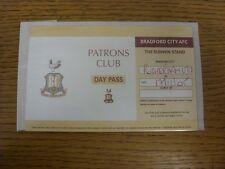 17/12/2005 Ticket: Bradford City v Rotherham United [Patrons Club Day Pass] . An