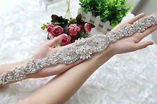 Wedding Applique, Beaded Rhinestone,Bridal pearl Applique, pearl rhinestone sash